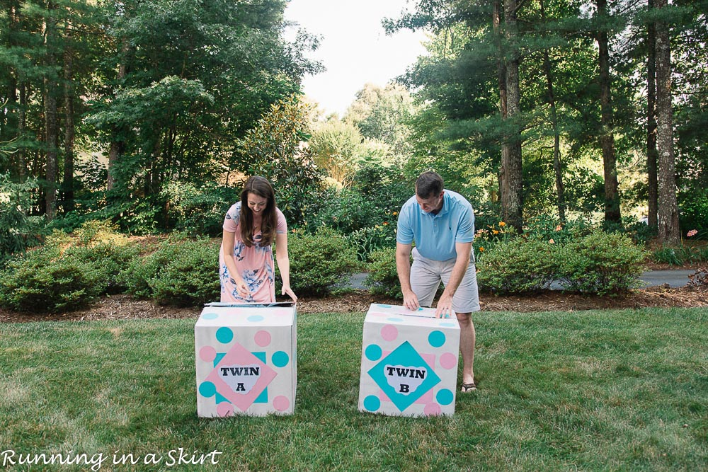 Opening of twin gender reveal boxes with twin a and twin b.