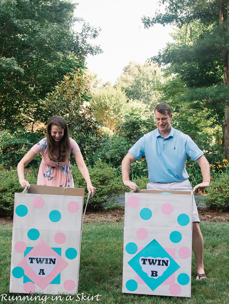Twin gender reveal boxes almost open!