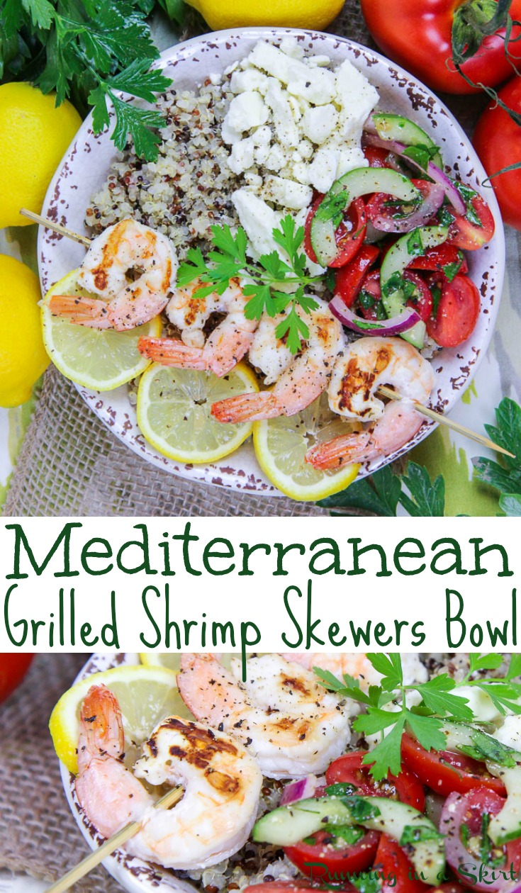 Easy & Healthy Mediterranean Grilled Shrimp Skewers Bowl -  This shrimp bowl recipe is clean eating and packed with fresh vegetables, lemon, quinoa and feta.  Includes the best marinade for shrimp.  A perfect dinners for families or busy lunch.  Pescatarian & Gluten Free / Running in a Skirt AD @briannassalad #shrimp #healthy #dinner #recipe #seafood #grilling #Mediterranean