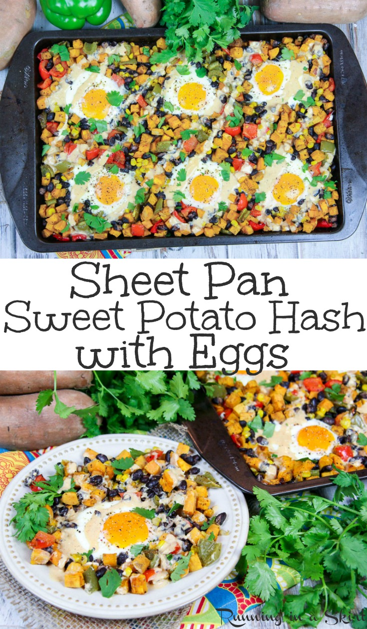 Healthy Sheet Pan Southwest Sweet Potato Hash with Eggs recipe - Perfect for breakfast, brunch or dinner.  Uses veggies and black beans for a one pan meatless monday meal.  A simple and fun way to start mornings and a twist on a classic breakfast casserole for families.  Clean eating, Whole30 & Gluten Free. / Running in a Skirt AD @briannassalad #cleaneating #healthy #recipe #sweetpotato #eggs #vegetarian #breakfast #brunch via @juliewunder
