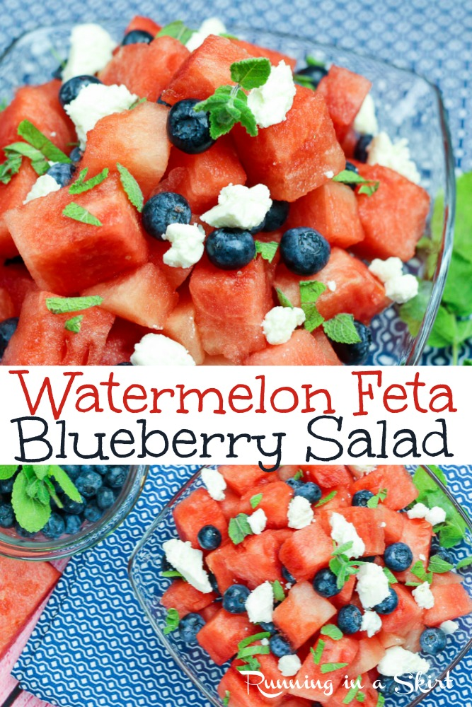 Watermelon Feta Blueberry Salad - This is the best watermelon salad with feta cheese and mint.  This healthy summer fruit salad is topped with the perfect dressing option.  Vegan, vegetarian and gluten free. via @juliewunder
