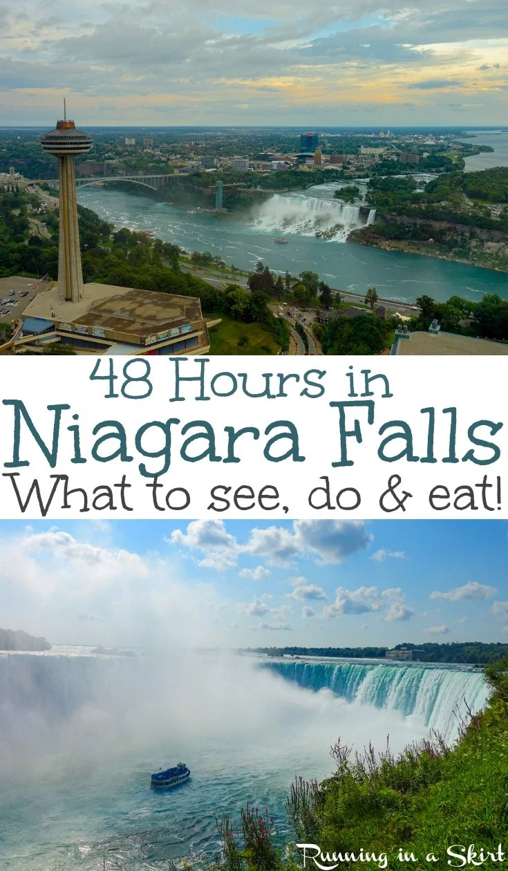 Things to Do in Niagara Falls Canada with 48 Hours - what do see, do & eat!  Tips and itinerary for restaurants, photography, most popular attractions (including the Journey Behind the Falls and the Hornblower / Maid of the Mist boat ride, Whirlpool, and White Water Walk.)  Also includes Niagara-on-the-lake.  This is one of the prettiest natural wonders of the world! / Running in a Skirt #niagarafalls #niagara #waterfalls #travel #adventure
