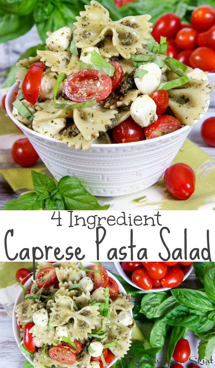 4 Ingredient Easy Caprese Pasta Salad with Pesto recipe - the best healthy, cold tomato mozzarella salad!  A simple summer meals or lunch ideas. Perfect for a crowd or potlucks.  Vegetarian. / Running in a Skirt #vegetarian #healthy #recipe #caprese #pasta