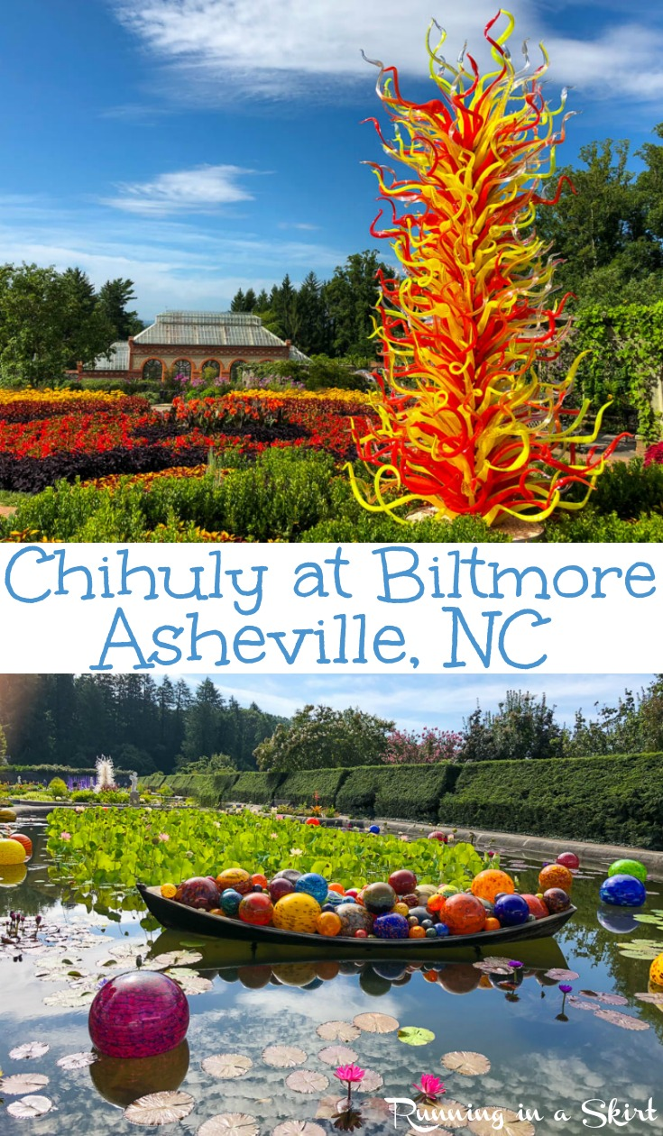 Chihuly at Biltmore in Asheville, NC - stunning photography of the Biltmore Estate Gardens during the Dave Chihuly exhibit.  Includes tips for a visit to explore the grounds.  Put this on your bucket lists! / Running in a Skirt #asheville #nc #travel #wnc #chihuly #art #gardens via @juliewunder