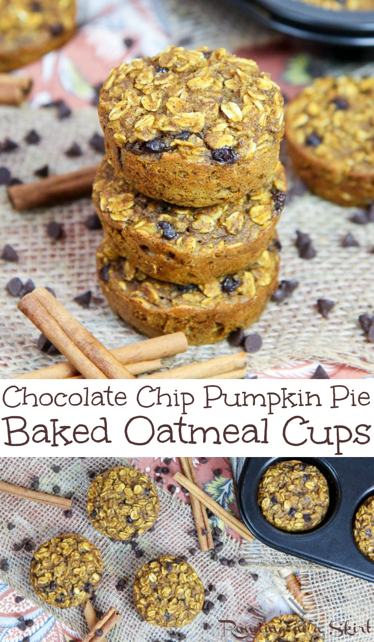 Healthy Baked Chocolate Chip Pumpkin Oatmeal Cups recipe - easy and simple for make ahead or on the go healthy breakfasts.  Clean eating and uses only a touch of maple syrup for a sweetneer.   Can use almond milk!  Vegetarian & gluten free friendly. / Running in a Skirt #oatmeal #breakfast  #makeahead #onthego #recipe #healthy #glutenfree via @juliewunder