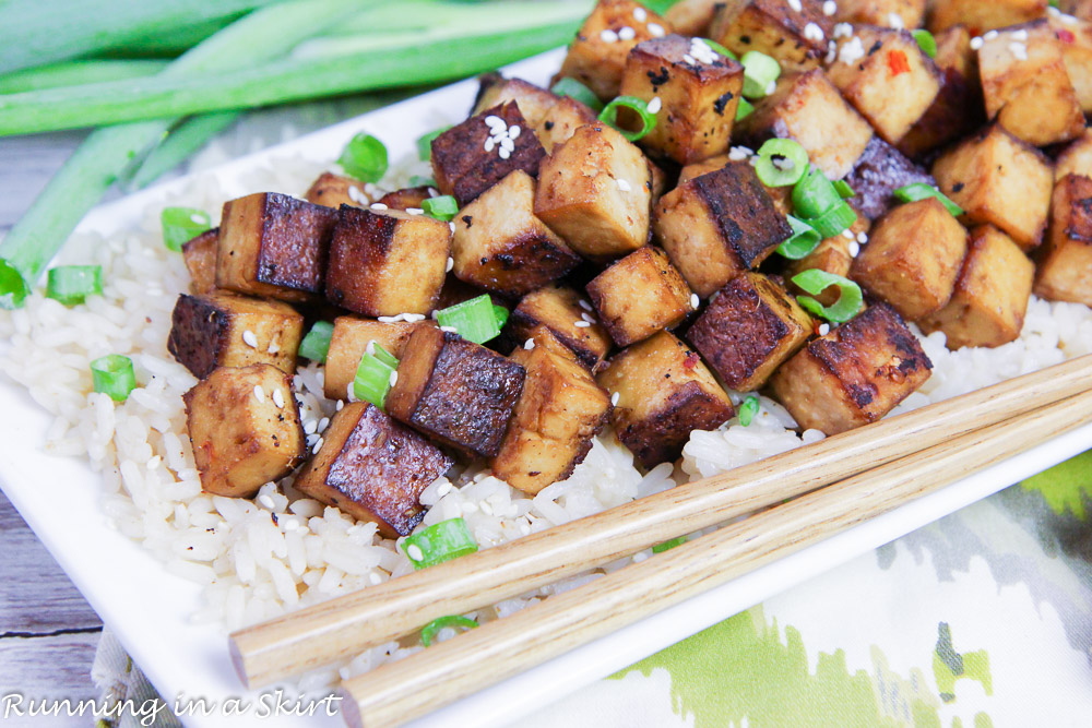 the best crispy asian baked tofu recipe  running in a skirt