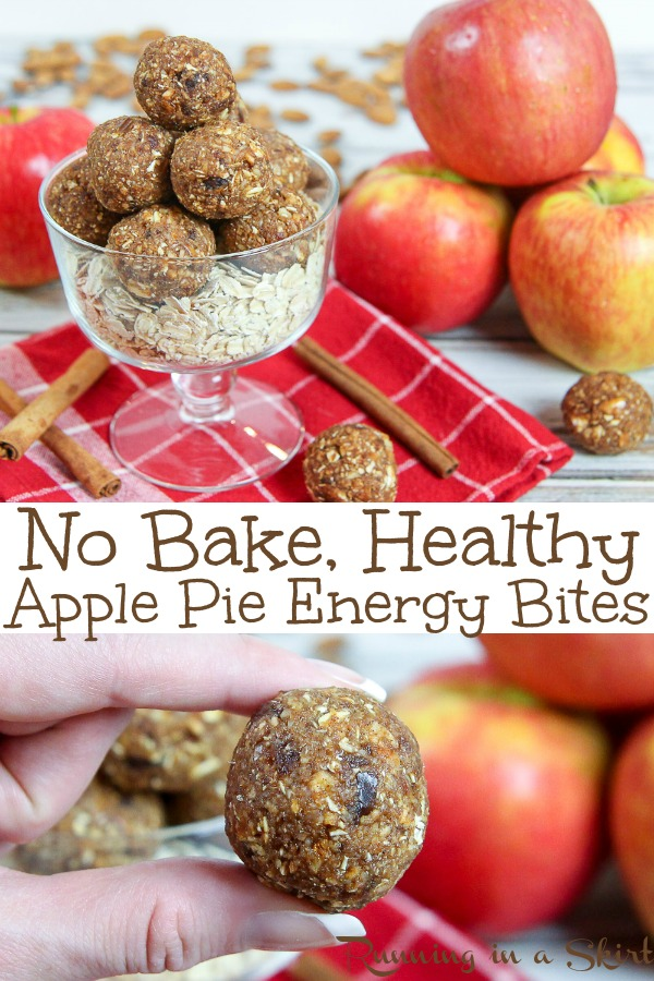Healthy No Bake Apple Pie Energy Bites recipe - these apple pie bites are easy simple and made with real apples for the perfect fall treats! Great for healthy snacks, breakfast or desserts. Perfect for vegans, vegetarian and with gluten free option. #vegan #healthy #apple #recipe #applepie #energybites #nobake #vegetarian #snack #fall / Running in a Skirt via @juliewunder