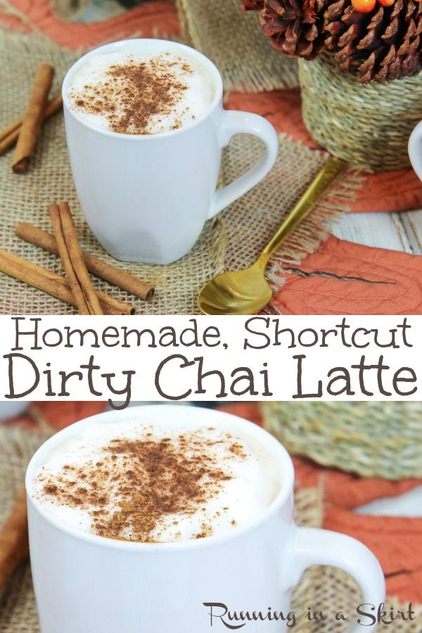 Homemade Dirty Chai Latte recipe - shortcut version! Includes how to make DIY instructions using Tazo tea and espresso. Dairy free option with almond milk or regular milk. Iced OR Hot! The perfect spices for these drinks. Gluten free & vegan / Running in a Skirt #WarmuptoTazo #FallforTazoFlavor #ad #recipe #healthy #chaitea #chai #coffee #drinks #chailatte #tea via @juliewunder