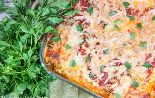 Baked Vegetarian Spaghetti Squash Casserole in a glass pan.