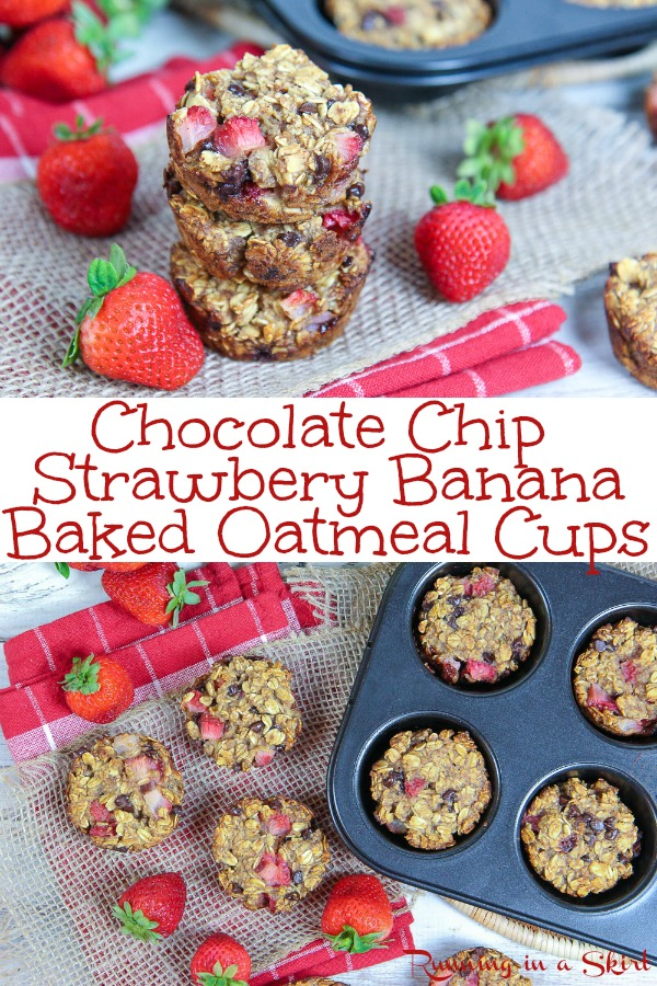 Easy Strawberry Banana Baked Oatmeal Cups recipe - with chocolate chips!  Simple breakfast muffins that also make a great healthy snack.  Clean eating and sweetened with honey! / Running in a Skirt #oatmeal #strawberry #baking #healthy #cleaneating via @juliewunder