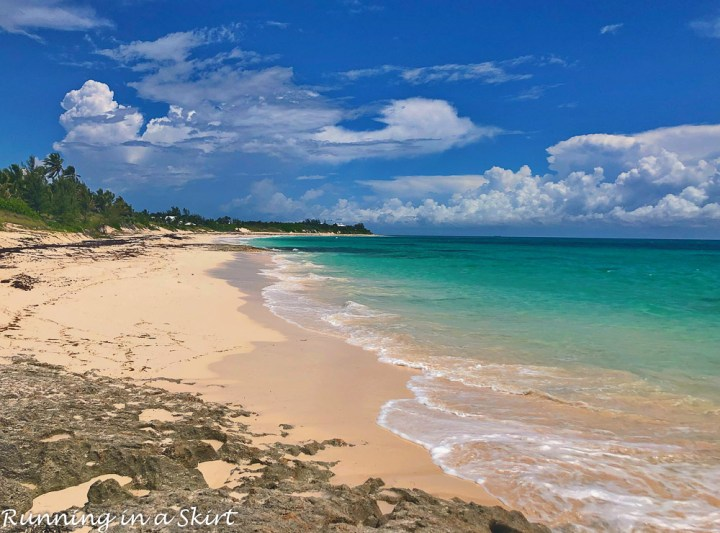 Pink sand beach on elbow cay at Hopetown Bahamas.