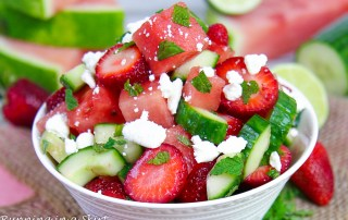 Cucumber Watermelon Strawberry Salad recipe