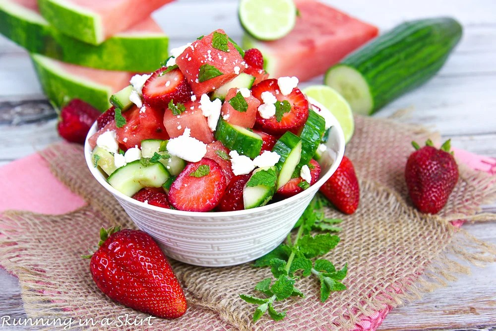 Cucumber Watermelon Strawberry Salad recipe