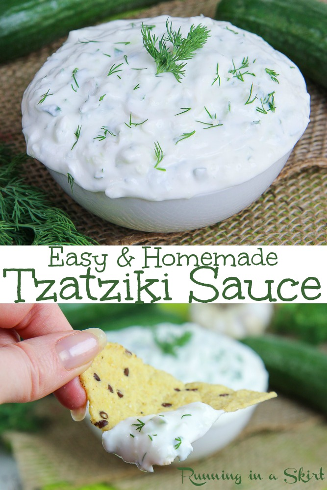 Healthy, Easy & Homemade Tzatziki Sauce- THE BEST with greek yogurt and garlic! A quick cucumber dip for a wrap, sandwiches, pita or dip. Low carb & gluten free. / Running in a Skirt #recipe #greek #tzatziki #dip #vegetarian #healthy #healthyliving via @juliewunder