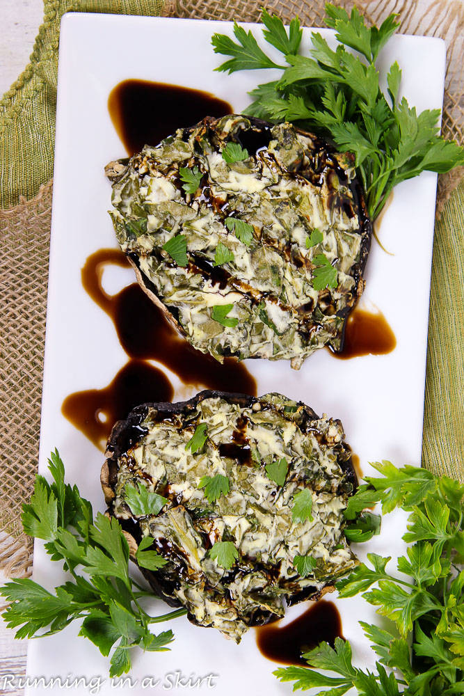 spinach and goat cheese stuffed portobello mushrooms « running in a skirt