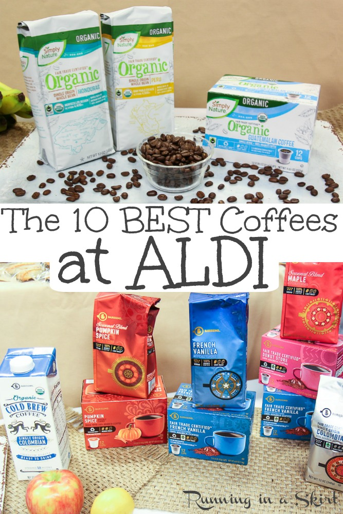 Curious about ALDI coffee?  Find out the best coffee brand to buy at an affordable price.  Includes Fair Trade and Organic options.  Whole beans, grounds, flavored and coffee pods / k cups are available. / Running in a Skirt #ad  #coffee #fairtrade #ethical #organic #aldi #aldilove via @juliewunder