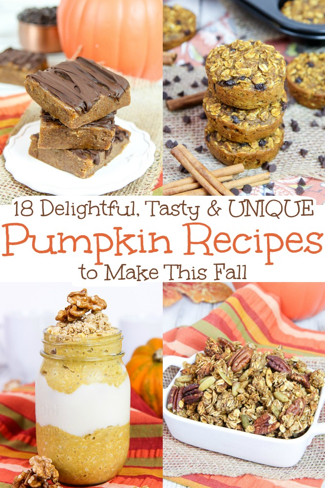 The Best 18 Pumpkin Recipes for Fall - tasty and unique recipe ideas to make. Includes easy breakfast, sweets and savory ideas including pancakes, overnight oats, muffins, snacks, bread, bites, soup and even granola. Several using the Crockpot or slow cooker. Vegetarian, vegan, gluten free options. / Running in a Skirt #pumpkin #fall #vegetarian #crockpot #fall #fallfood #recipe #healthy #healthyliving via @juliewunder