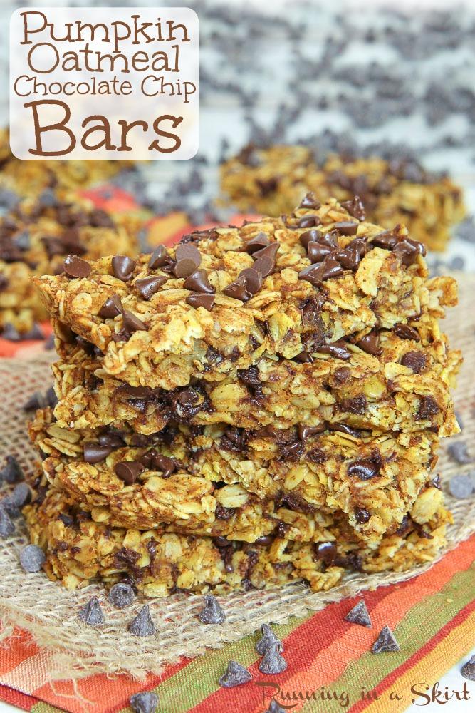 Pumpkin Oatmeal Chocolate Chip Bars recipe
