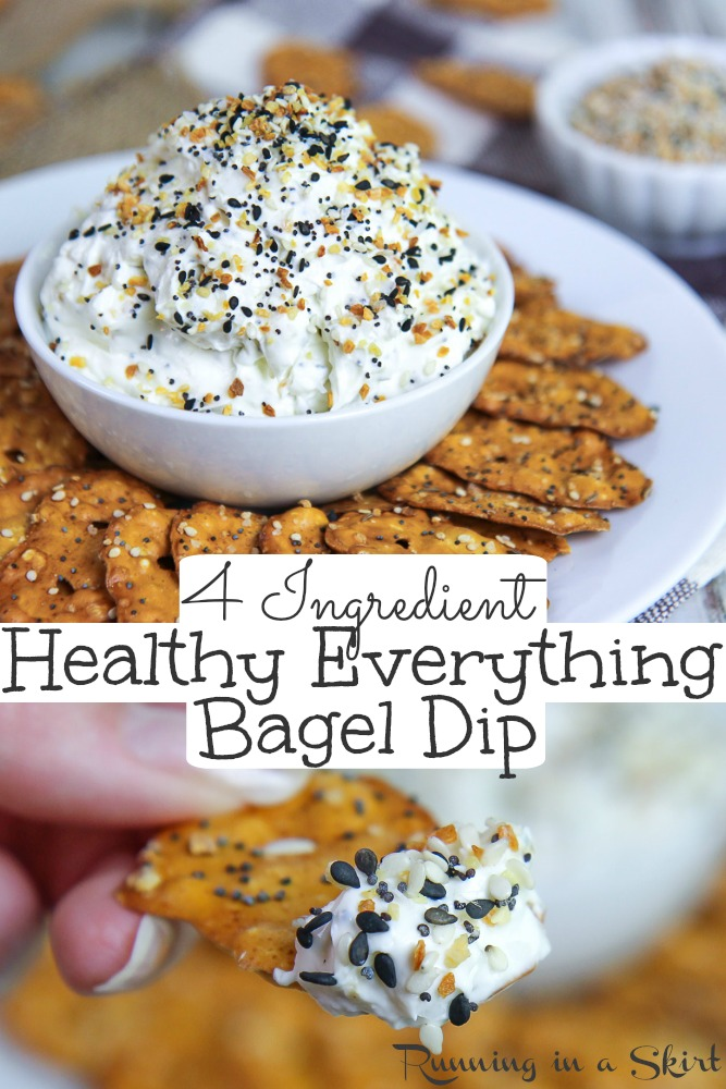 Healthy Everything Bagel Dip recipe - only 4 ingredients! Uses a mix of whipped cream cheese and greek yogurt for a lighter but still creamy dip. Make your own everything bagel seasoning mix or use Trader Joes! / Running in a Skirt #dip #recipe #greekyogurt #healthy #everythingbagelseasoning via @juliewunder