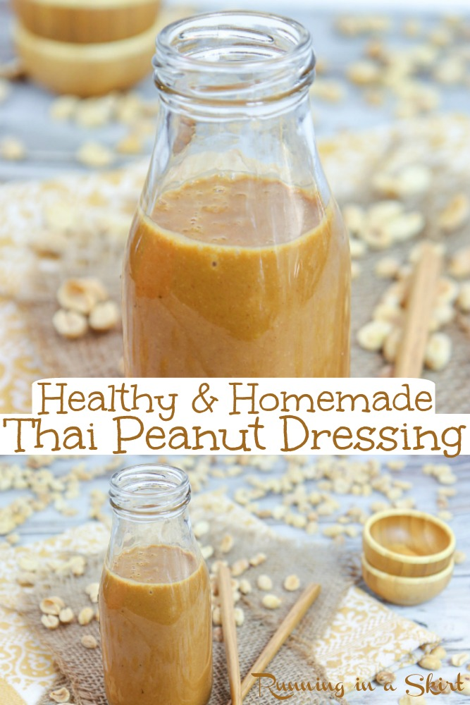 Healthy Thai Peanut Salad Dressing recipe - an easy homemade sauce! A simple Asian sauce that is the best for salads, pasta or veggies! Vegetarian, vegan friendly and keto. / Running in a Skirt #saladdressing #thai #healthy #recipe #healthyliving #salad #homemade via @juliewunder