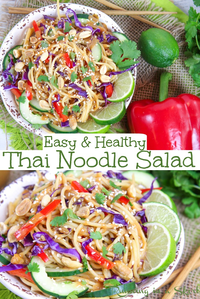 Healthy Cold Thai Noodle Salad recipe with Thai Peanut Sauce - this easy vegan / vegetarian dinner is topped with the best ever Thai Peanut Dressing. Topped with lots of veggies and crunchy peanuts! / Running in a Skirt #vegan #vegetarian #healthy #dinner #healthydinner #thai #plantbased #healthyliving via @juliewunder