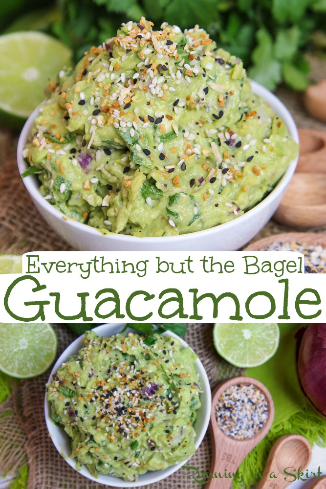 Everything Bagel Guacamole recipe - the perfect use for Everything But the Bagel seasoning from Trader Joe's.  This homemade dip is perfect for snacks and parties.  This healthy, easy and simple guac is the best twist on the authentic version. / Running in a Skirt #homemade #healthy #guacamole #everythingbutthebagel #traderjoes #everythingbagel #avocado #recipe via @juliewunder