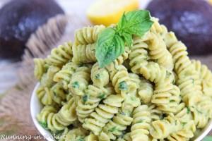 Close up of basil and Creamy Avocado Pasta Recipe