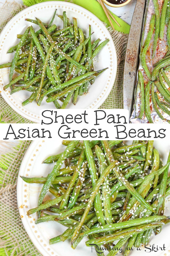 Easy & Healthy Asian Green Bean recipe - only FIVE ingredients!  With sesame oil, soy sauce and garlic.  This simple vegan side dish is baked to perfection! / Running in a Skirt #healthyrecipe #healthyliving #vegan #vegetarian #greenbeans #asianrecipe via @juliewunder