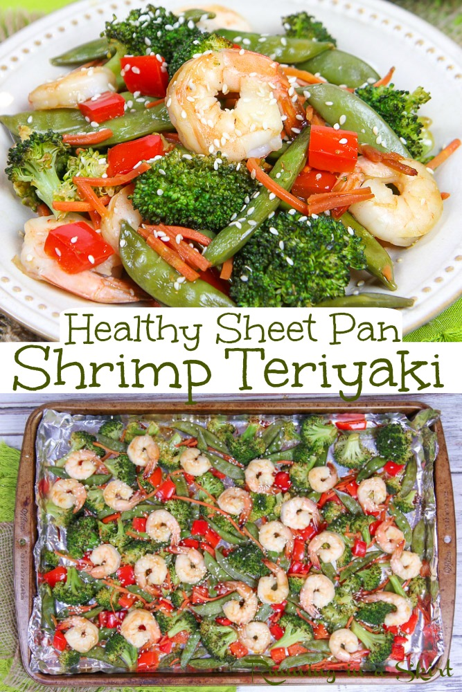 Healthy & Easy Sheet Pan Shrimp Teriyaki recipe!  Looking for healthy shrimp recipes?  This one is the best simple one pan dinner.  Easier than a stir fry with all the taste, veggies and sauce. / Running in a Skirt #shrimp #healthydinner #sheetpan #onepanmeal #pescatarian via @juliewunder