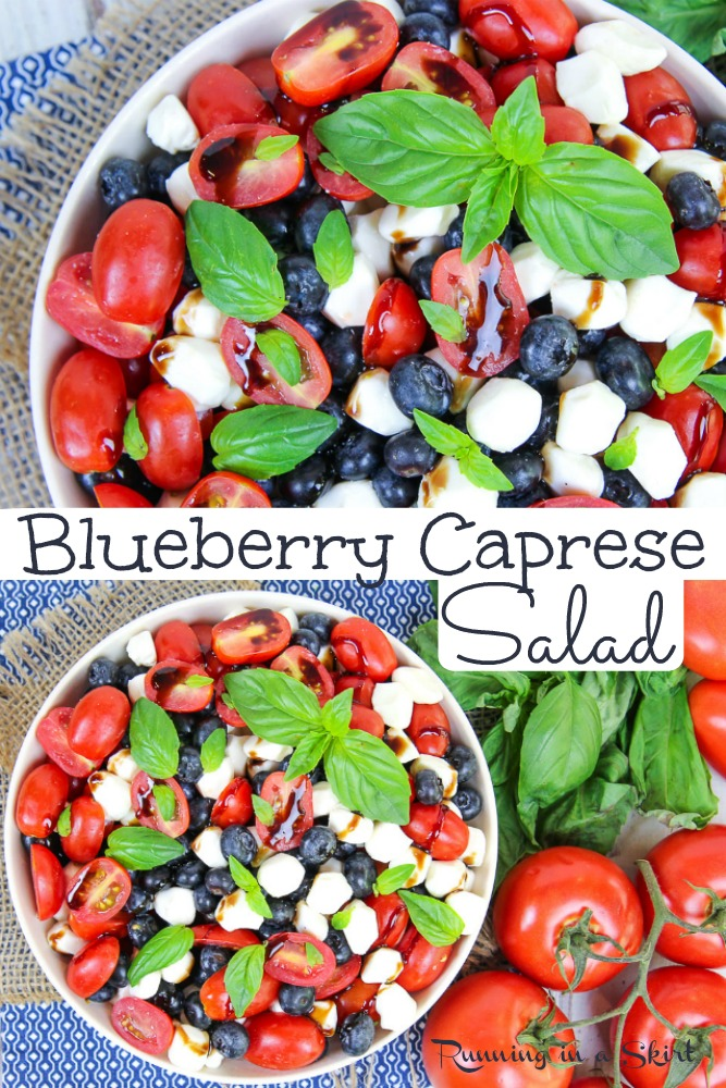 Blueberry Caprese Salad recipe - easy & healthy. Perfect red, white and blue food for summer parties including 4th of July, Memorial Day and Labor Day. The best with tomato, fresh mozzarella, basil and a with balsamic glaze. Simple for dinner! / Running in a Skirt #vegetarian #salad #healthy #recipe #caprese #blueberry via @juliewunder