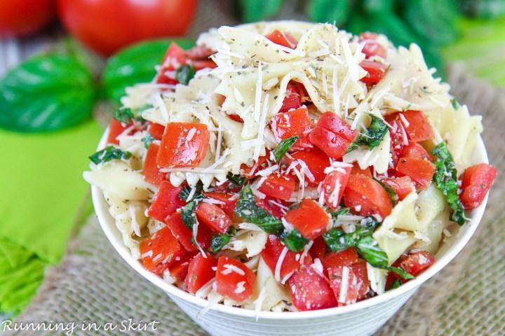 Bruschetta Pasta Salad recipe in a white bowl.