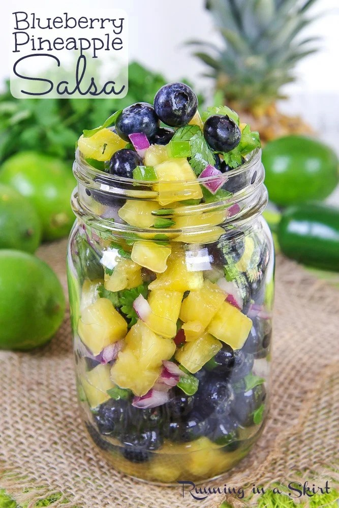 Easy Blueberry Salsa recipe with salsa in a glass mason jar.