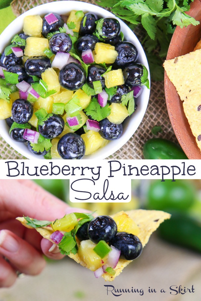 Easy Blueberry Salsa recipe pinterest pin.