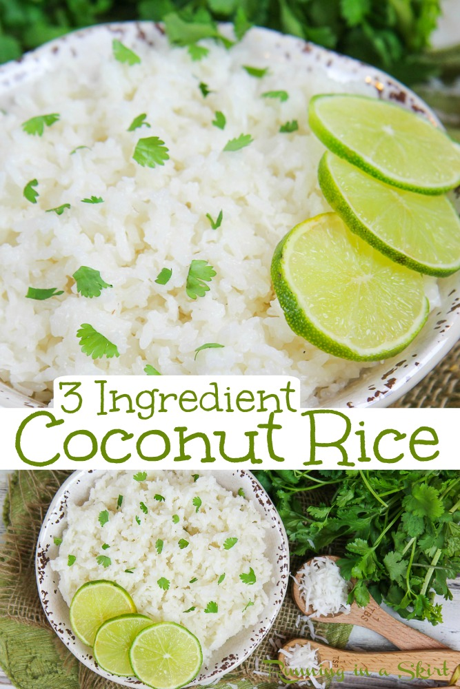 Creamy Coconut Rice recipe - 3 Ingredients! This easy Thai Coconut Rice can be made in the rice cooker or on the stovetop and is perfect for dinner. If you are wondering how to make this sweet dish... start here! Finished with cilantro lime. Vegetarian & Vegan/ Running in a Skirt #ricecooker #coconutrice #thai #vegetarian via @juliewunder