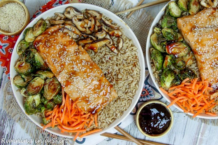 Salmon, brussels sprouts, mushroom, carrots and rice.