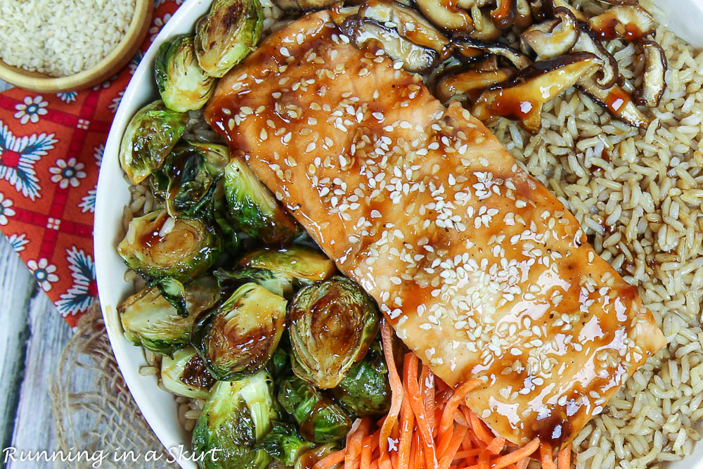 Salmon and Brussels Sprouts with teriyaki sauce.