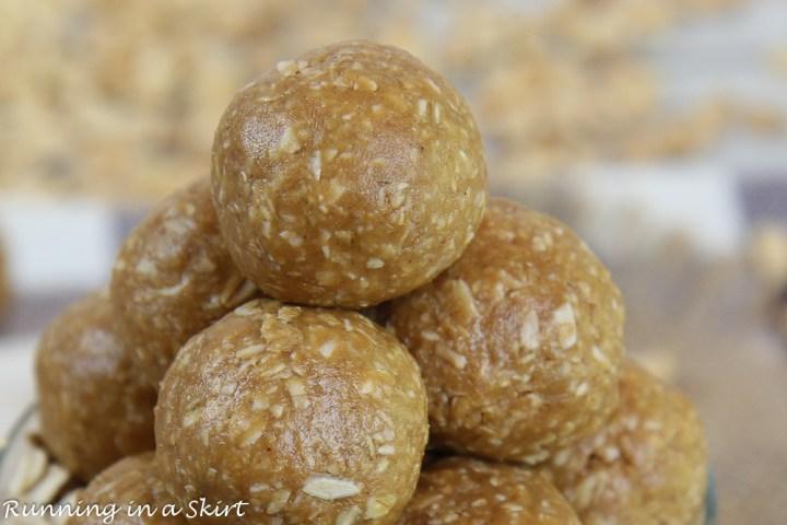 Closeup of the no bake energy ball.