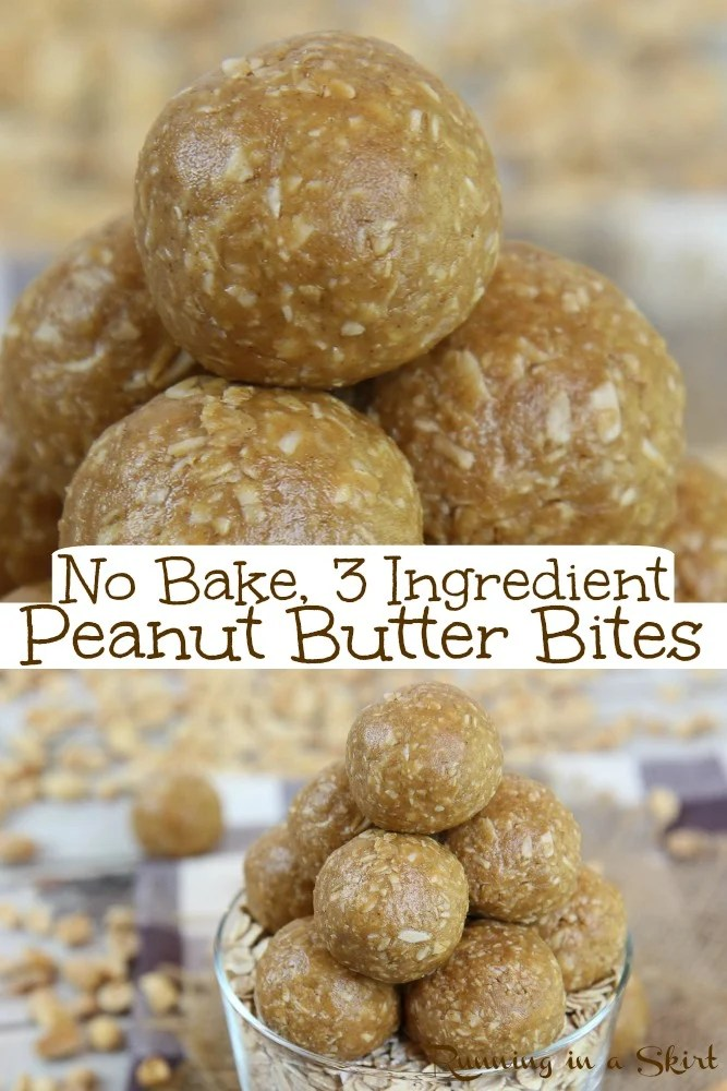 Peanut Butter Oatmeal Balls - only 3 Ingredients! These healthy No BAKE energy bites are easy and filled with oatmeal, peanut butter, and honey. These Peanut Butter BAlls can easily be made vegan or gluten free. You will love these healthy energy bites! Kid and toddler friendly. / Running in a Skirt #peanutbutter #healthy #energybites #energyballs #nobake #glutenfree #vegan via @juliewunder