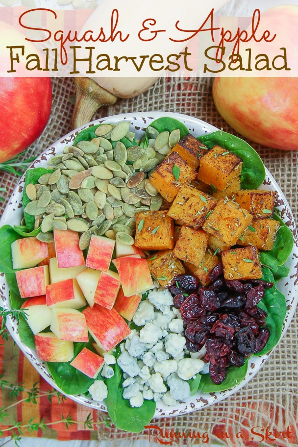Pinterest Pin for Squash & Apple Fall Harvest Salad.