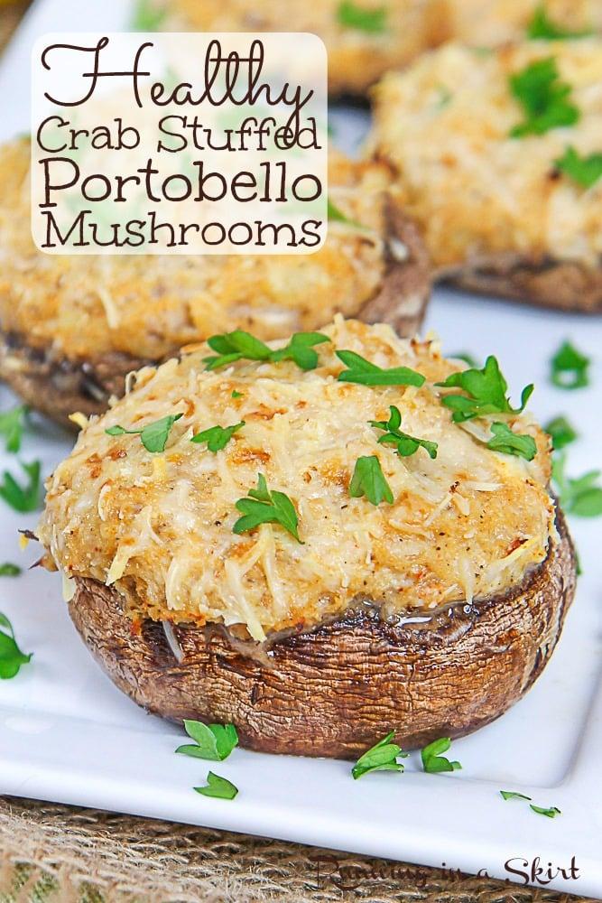 Healthy Crab Stuffed Portobello Mushrooms pinterest pin