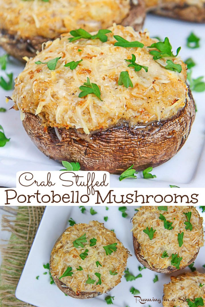 Healthy Crab Stuffed Portobello Mushrooms recipe - an easy and amazing stuffed mushroom recipe made with lump crab meat (can use fresh OR canned) with cream cheese, parmesan cheese, and greek yogurt. Makes an elegant meal or healthy appetizer. Healthy swaps and no bread crumbs make this recipe clean eating, low carb and low calorie. Keto friendly. Pescatarian. / Running in a Skirt #pescatarian #lowcarb #keto #lowcalorie #healthy #stuffedmushroom #recipe via @juliewunder