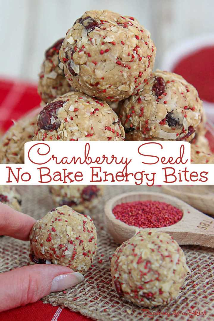 No Bake Cranberry Oatmeal Energy Bites with Cranberry Seeds - Cranberry Energy Ball recipe. A clean eating, healthy no bake snack with peanut butter and coconut. No added sugar protein ball. Includes information about the health benefits of cranberry seeds. Low Calorie, Gluten Free Option, Vegan, Dairy Free / Running in a Skirt #AD #oceansprayseeds #cranberryseeds #cranberry #healthy @OceanSpray via @juliewunder
