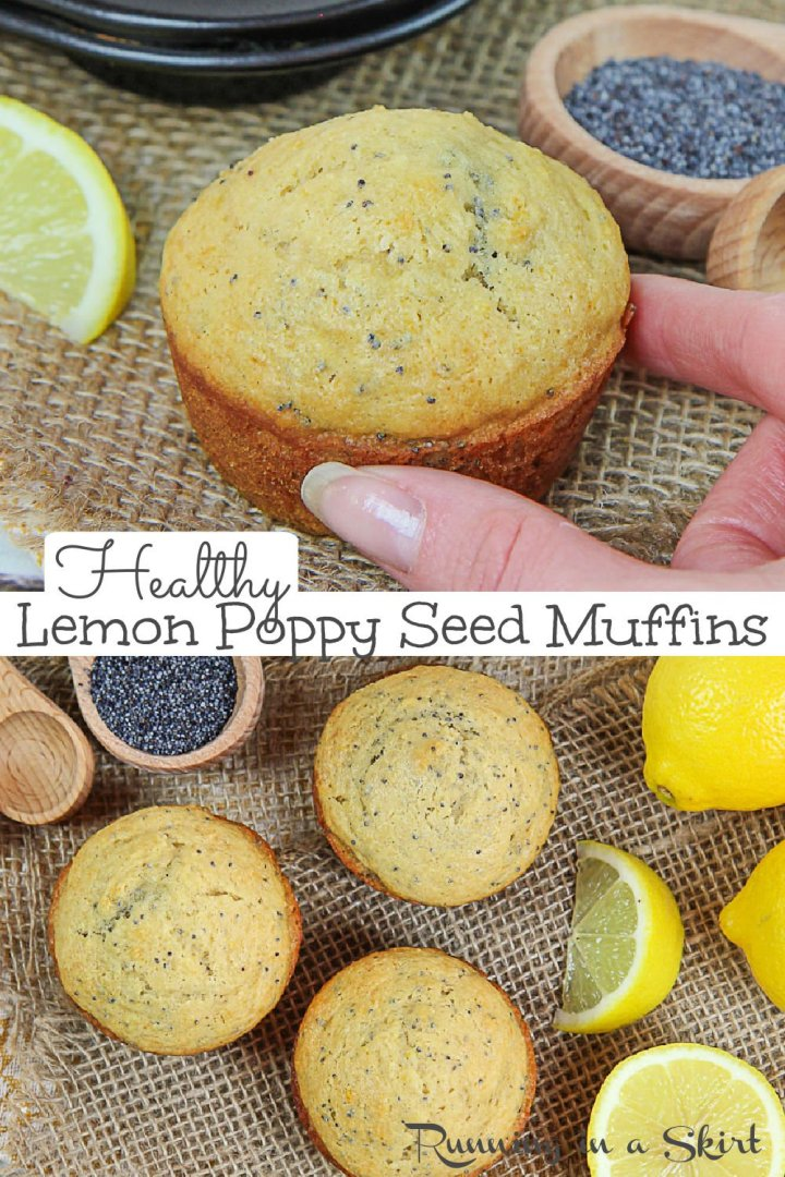 Healthy Lemon Poppy Seed Muffins recipe with greek yogurt, honey (no sugar -white), white-wheat flour, and coconut oil. These easy Lemon Poppyseed Muffins are perfect for breakfast or a healthy snack. Looking for healthy lemon muffin recipes? This one is light, fluffy and delicious. Clean Eating and great for kids for toddlers or for adults. / Running in a Skirt #healthybaking #healthymuffins #lemonpoppyseed #healthyliving #greekyogurt #lemon via @juliewunder