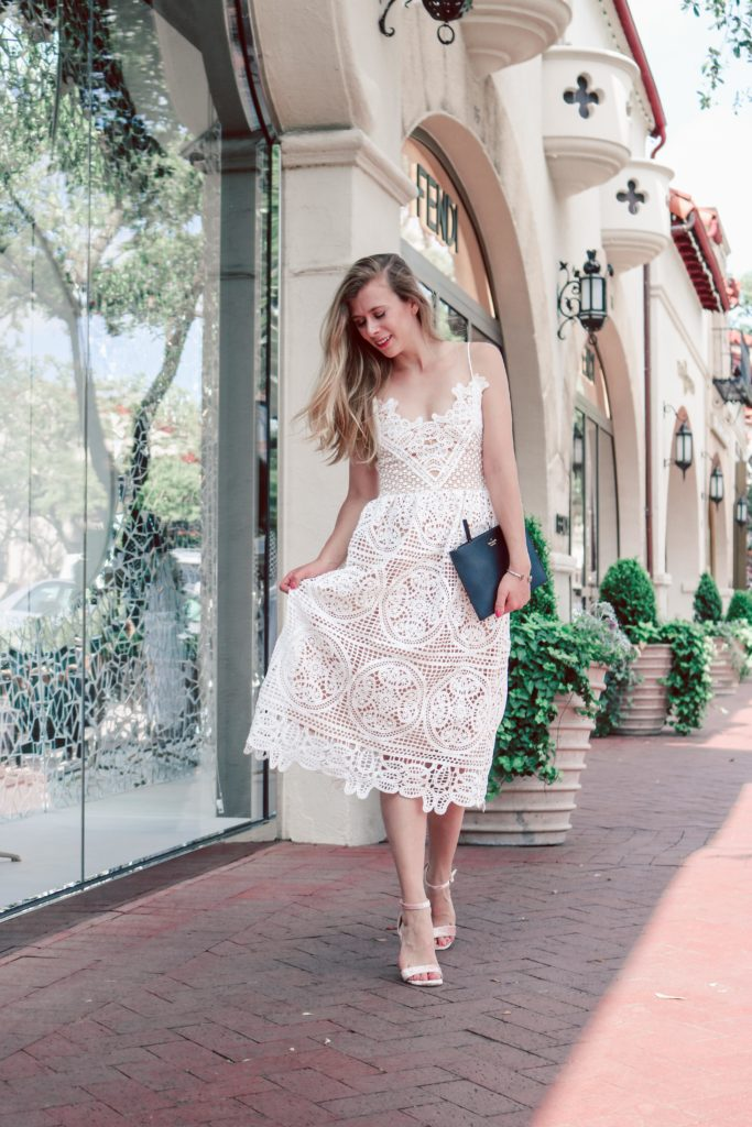 Lace Dress for Summer | Blonde Dallas blogger, Running in Heels wears a white crochet lace dress from Chicwish, and ZooShoo J Adams pink velvet sandals and carries a black Kate Spade clutch