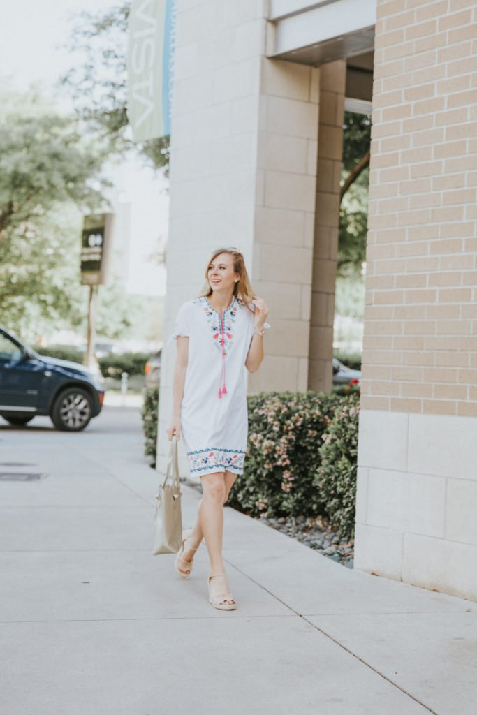 Embroidered White Dress for Summer