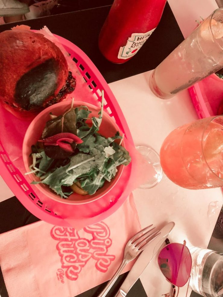Where to eat in NYC, Pietro Nolita spicy lamb burger with salad and pink drink
