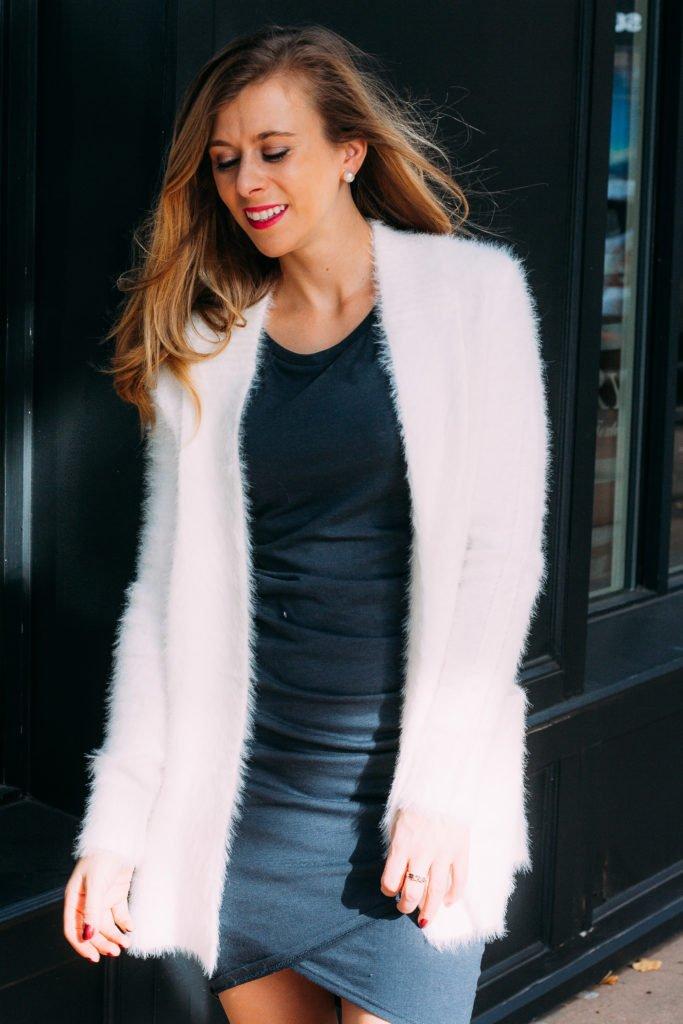 Nordstrom Ruched Dress | Fuzzy Cardigan | Running in Heels | Dallas Fashion Blogger