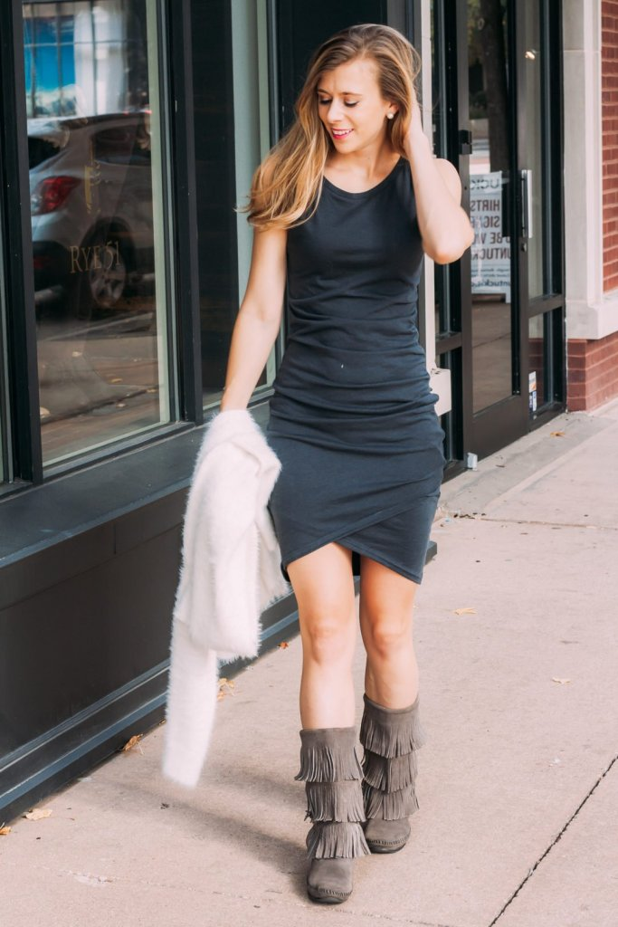 Nordstrom Ruched Dress | Fuzzy Cardigan | Fringe Boots | Running in Heels | Dallas Fashion Blogger