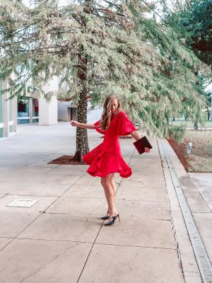 A red cocktail dress.