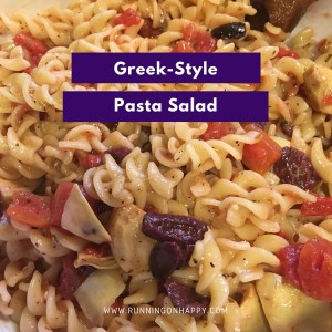 Greek-Style Pasta Salad | Meatless Monday | Running on Happy